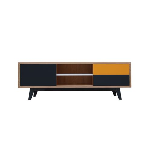 Pirotais Buffet TV chêne massif et laqué, 1 porte, 2 tiroirs et 1 niche, Made in France Jaune or