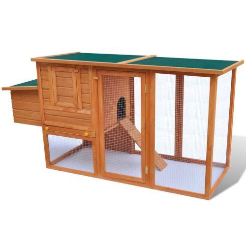 Cage à Poules en Bois Extérieur avec 1 Cage pour Oeufs 160 x 87 x 110 cm