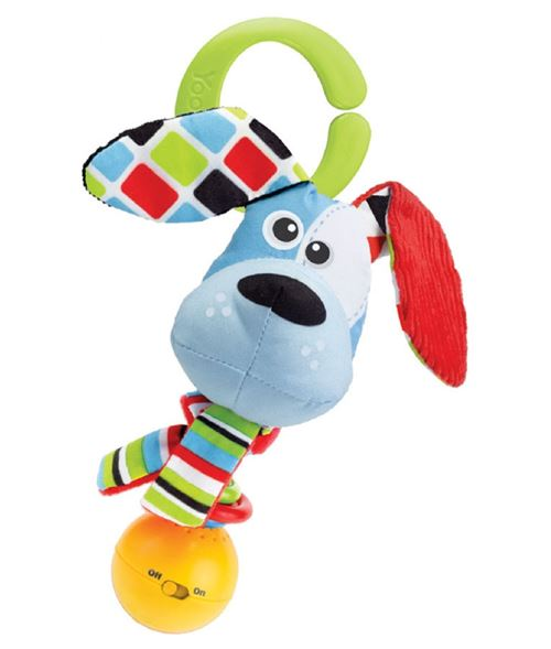 Yookidoo hochet Shake Me Rattle Dog 16 cm en peluche bleu clair