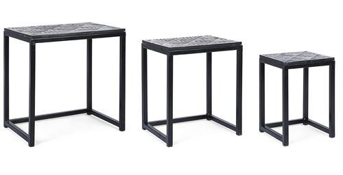 Lot de 3 tables gigogne en métal et bois , coloris noir/blanc -PEGANE-