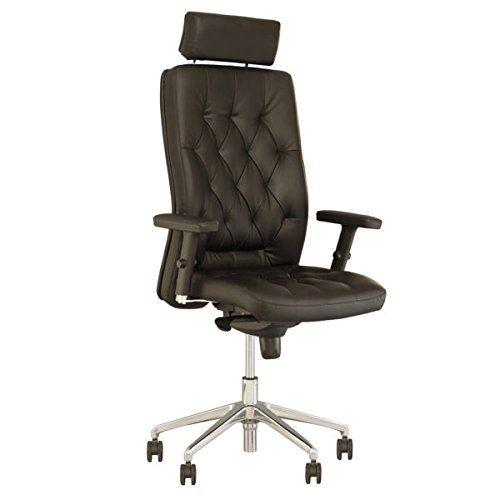 Chester fauteuil de direction professionnel, synchrone, multiposition capitonné, vintage noir