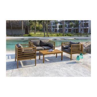 HAWI Salon de jardin 4 places en bois d\'acacia - 1 canapé et ...
