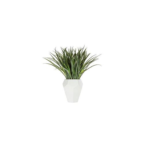 Plante artificielle - Pot en céramique - D 18 cm x H 48 cm - Blanc