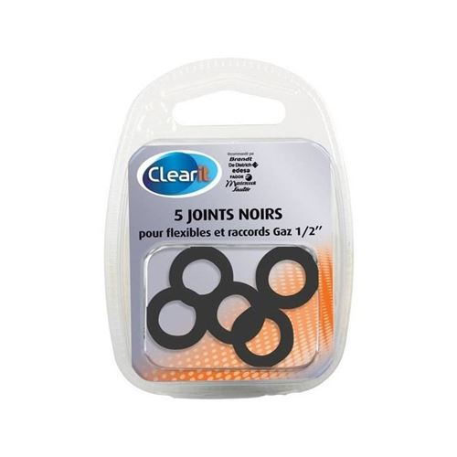 paquet de 5 joints noirs pour flexibles et raccords gaz 1/2'