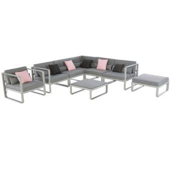 Salon de jardin 7 places en aluminium coloris Silver mat ...