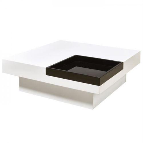 IRIGA Table basse carree style contemporain blanc et noir laque - L 90 x l 90 cm