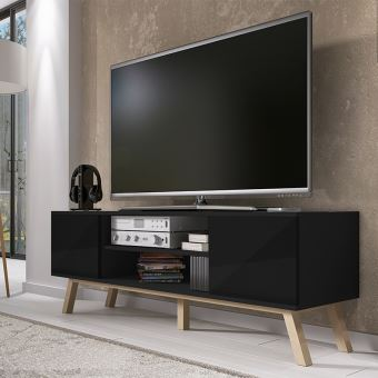 Meuble Tv Vero Bois 150 Cm Noir Mat Meuble Tv Achat Prix Fnac