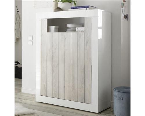 Buffet haut moderne couleur pin et blanc SERENA 3-L 110 x P 42 x H 144 cm
