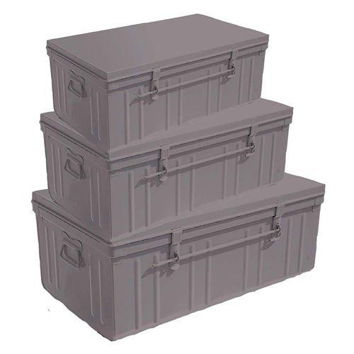 Pierre Henry - Set de 3 malles en acier Habitat 80 - 90 et 100 cm Taupe