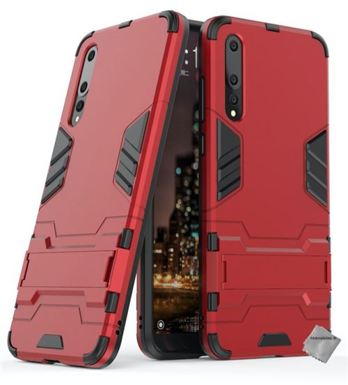 Housse etui coque rigide anti choc pour Huawei P20 Pro avec verre trempe - ROUGE