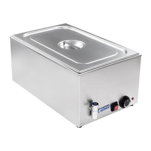 Bain-marie électrique professionnel bac GN 1/1 avec robinet de vidange 1 200 watts