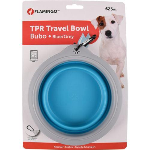 Gamelle de transport BUBO 625 ml. pour chien. couleur bleu/ gris.