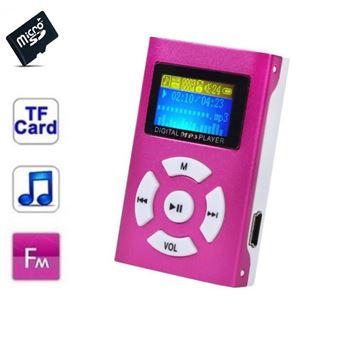 Lecteur MP3 32 Go à carte mémoire clip ceinture Ecran LCD Radio FM Rose