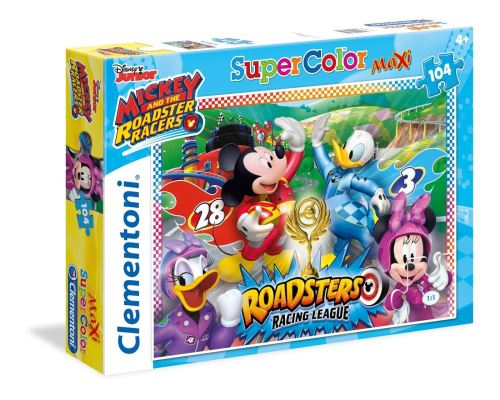 Clementoni - 23715 - Supercolor Puzzle - Mickey and the Roadster Racers - 104 Pièces - Disney