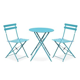 Salon de jardin bistrot pliable Emilia rond turquoise, table ...