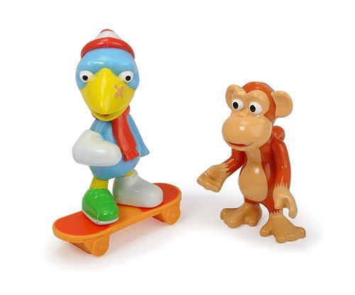 Dickie Toys – Héros de la Ville, Anton Le Singe, et Le kit Figurines avec Casimir Corbeau avec Skateboard avec roulement et Cartes à Collectionner avec Code Secret