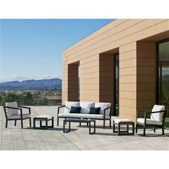 Hevea - Salon de jardin en aluminium 5/7 places Aurana Gris anthracite