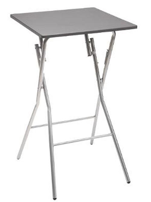 Table de bar pliante en métal coloris gris - L.60 x l.60 x H.103 cm -PEGANE-