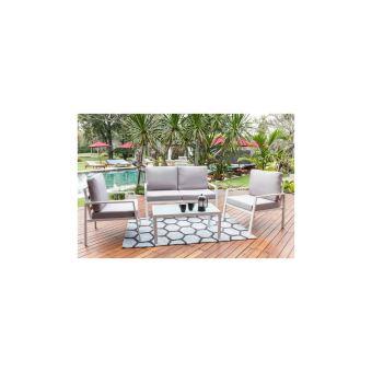 Beau Rivage Salon De Jardin 4 Places Avec Banquette Et Fauteuil Tuvalo -  Blanc
