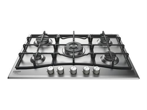 Hotpoint Ariston PCN 751 T/IX/HA - Table de cuisson au gaz - 5 plaques de cuisson - Niche - largeur : 55.5 cm - profondeur : 47.5 cm - acier inoxydable