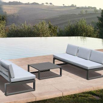 Salon détente en alu taupe athéna, 6 places - Mobilier de Jardin ...