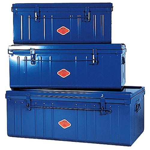 Pierre Henry - Set de 3 malles en acier Habitat 80 - 90 et 100 cm Bleu primaire