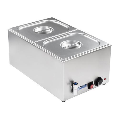Bain-marie électrique professionnel bac GN 1/2 avec robinet de vidange 1 200 watts