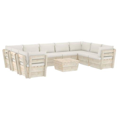 Salon de jardin palette 10 pcs avec coussins imprégné blanc cassé
