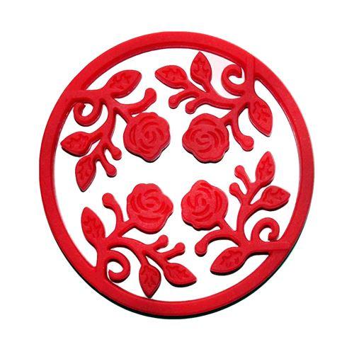 Dessous de plat extensible en silicone rouge