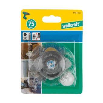 Wolfcraft 2108000 Brosse m/étallique soucoupe tige 6 mm Diam/ètre 75 mm