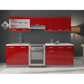 cuisine dana rouge laqu 2m40 7 meubles achat prix. Black Bedroom Furniture Sets. Home Design Ideas