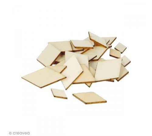 Formes plates losanges en bois à décorer - 1 à 3 cm - 129 pcs