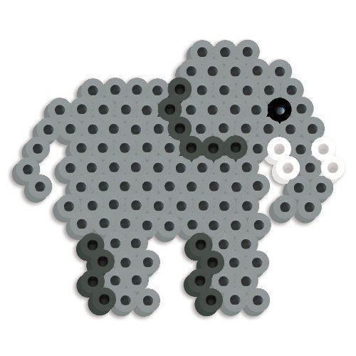 Perler Beads - Kit de perles fondues à plaque perforée en silicone - Éléphant