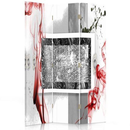 Feeby Paravent rotatif Impression toile 3 panneaux Déco moderne, Abstraction Blanc Rouge Noir 110x180 cm