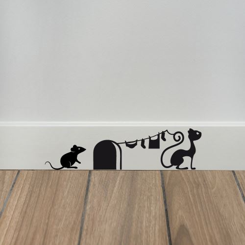 Sticker de Plinthe en Découpe Crazy Mouse - Aspect Brillant - Coloris Noir