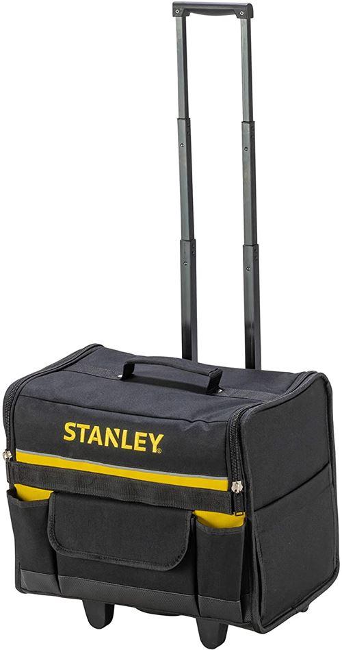 Stanley 1-97-515 Sac Souple À Roulettes 600x 600 deniers - Structure Rigide - 2 Pieds de maintien - Poche pour Document - Compartiments modifiables - Poignée Télescopique - 460 x 330 x 450 mm