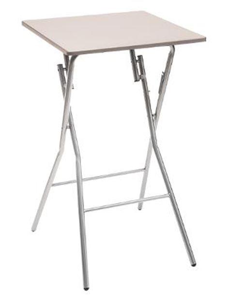 Table de bar pliante en métal coloris taupe - L.60 x l.60 x H.103 cm -PEGANE-