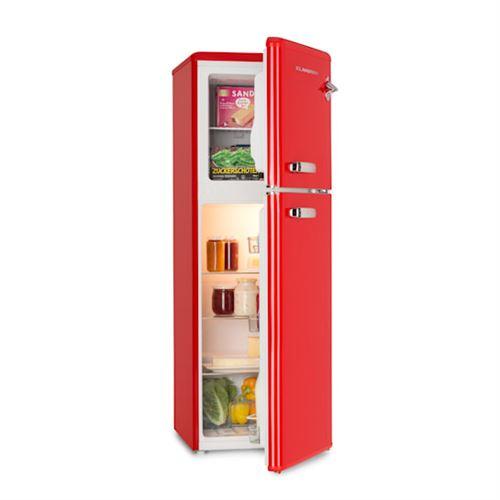 Klarstein Audrey Combiné Réfrigérateur Congélateur haut : 136 L (97L + 39L) - 41 db - A+ - look rétro rouge