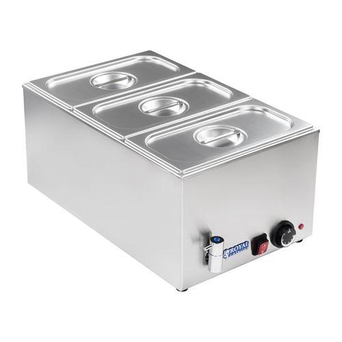 Bain-marie électrique professionnel bac GN 1/3 avec robinet de vidange 1 200 watts