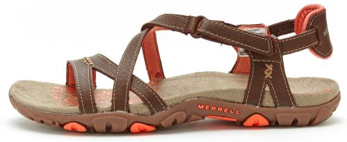 Merrell Sandspur Rose Cuir Femmes Sandales en Marron