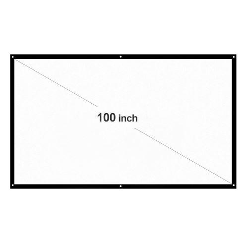 """H100 Écran de projection Portable 100"""" HD 16:9 Diagonale Pliable pour Maison Cinéma Blanc"""