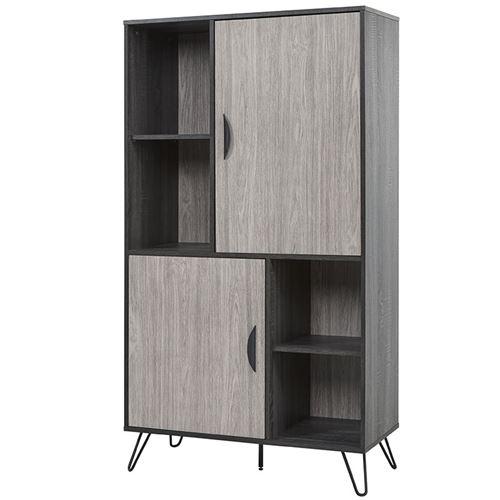 Buffet haut couleur bois gris moderne SANTORI 2 - L 91 x P 40 x H 160 cm