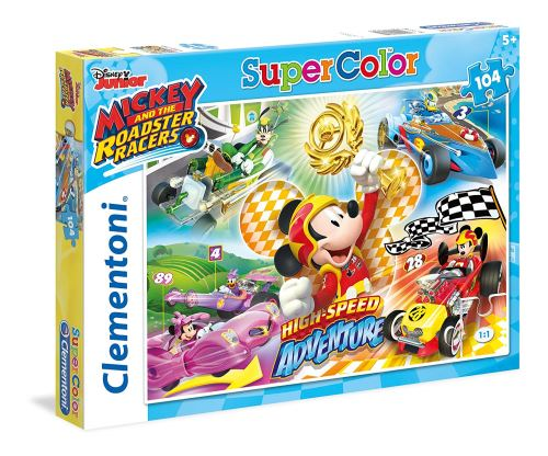 Clementoni - 27085 - Supercolor Puzzle - Mickey and the Roadster Racers - 104 Pièces - Disney