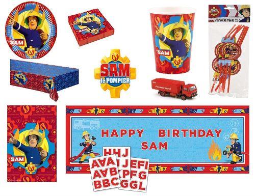 MEGA Kit Sam Le Pompier 8 Enfants Complet Anniversaire (8 Assiettes, 8 gobelets, 20 Serviettes, 1 Nappe + 8 pailles + bannière+ 8 sacs bonbons) fête Nouveauté 2019 + cadeau : 1 Camion de pompiers*