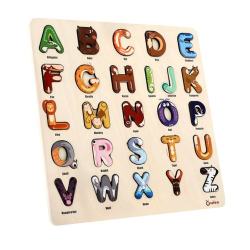 Alphabet Puzzle Plateau Puzzle en Bois Anniversaire Éducatif Jouët Garçon Fille Multicolore WEN046