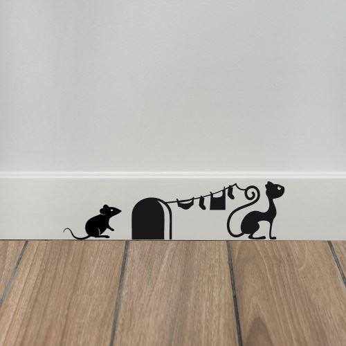 Sticker de Plinthe en Découpe Crazy Mouse - Aspect Brillant - Coloris Blanc
