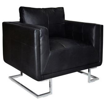 vidaXL Fauteuil cube avec pieds chromés Cuir synthétique Noir