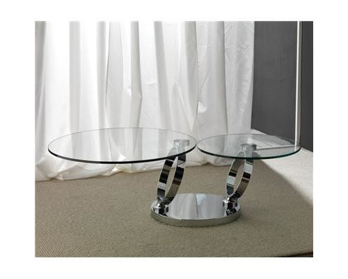 Table basse en cristal transparent et acier inox design DIAM