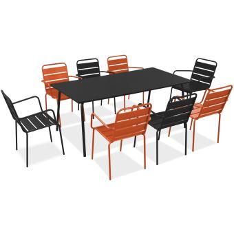 Salon de jardin en métal 1 table et 8 fauteuils, Palavas - Orange ...