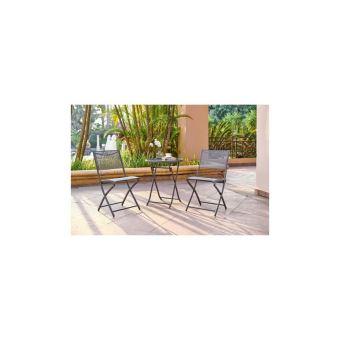 FINLANDEK - Ensemble salon de jardin 2 places - Table ronde pliable plateau  verre trempé chaises pliantes acier -